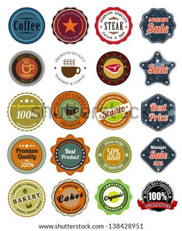 Tag Set of retro vintage styled Premium Quality and Guarantee Labels and sticker / studio / steak tag / coffee / sale / promotion / - stock vector