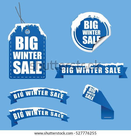 tag winter sale with snow on it in blue color illustration
