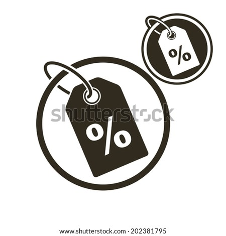 Tag with percent discount symbol, retail theme vector simple single color icon isolated on white background, includes invert version for you to choose. - stock vector