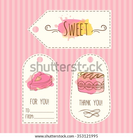 Tags with cake illustration. Vector hand drawn labels with watercolor splashes. Sweet vector cakes with cream and berries. Template label set.