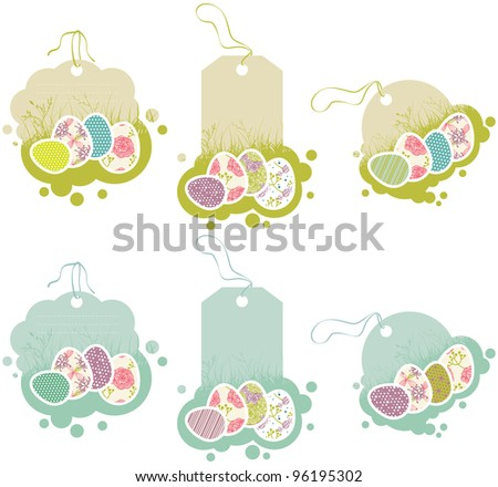 tags with Easter eggs in retro style - stock vector