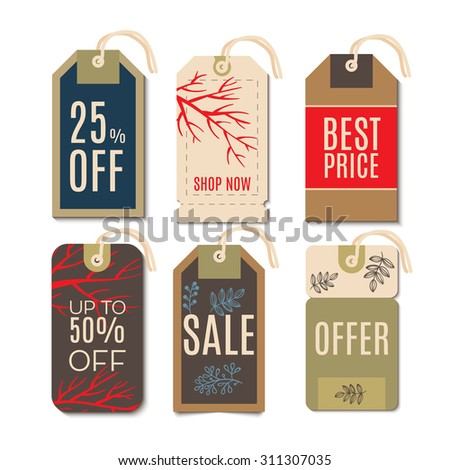 Tags with the sale of Christmas. Set price tags for the prices down. End of year sale savings labels  - stock vector