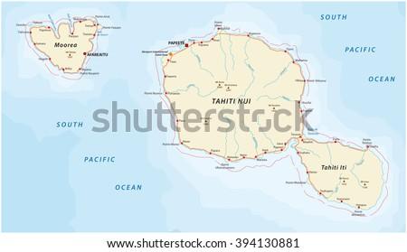 tahiti_moorea road map - stock vector