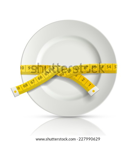 tailor centimeter around the plate - stock vector
