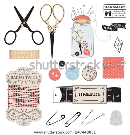 tailor's tools - scissors, measuring tape, thimble, etc. - stock vector