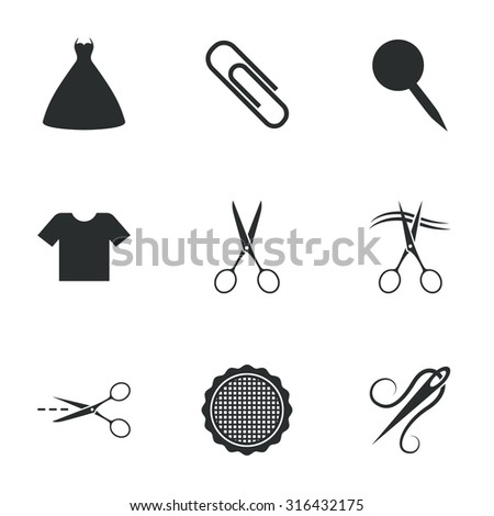 Tailor, sewing and embroidery icons. Scissors, safety pin and needle signs. Shirt and dress symbols. Flat icons on white. Vector - stock vector