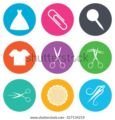 Tailor, sewing and embroidery icons. Scissors, safety pin and needle signs. Shirt and dress symbols. Flat circle buttons. Vector - stock vector