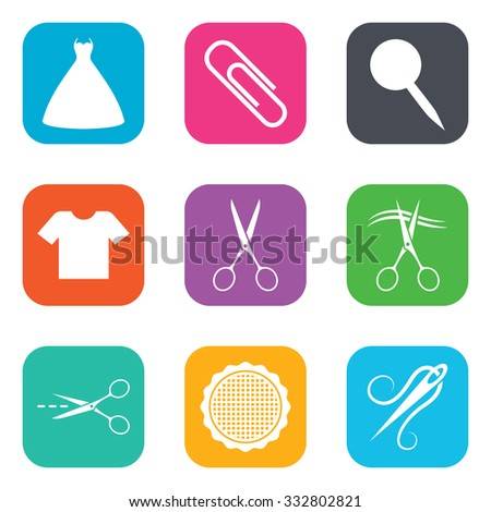 Tailor, sewing and embroidery icons. Scissors, safety pin and needle signs. Shirt and dress symbols. Flat square buttons. Vector - stock vector