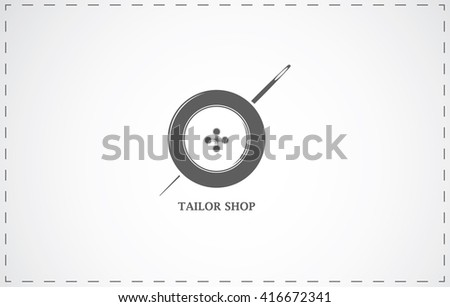 Tailor shop and sewing symbol with button and needle - stock vector
