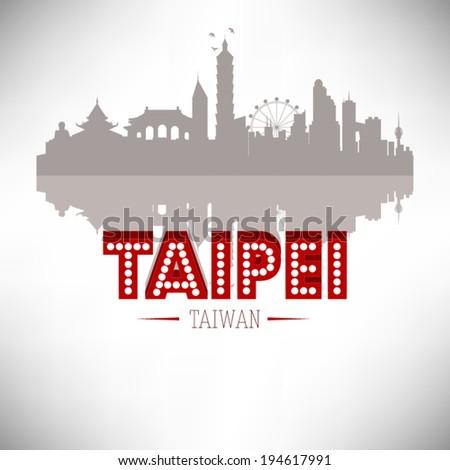 Taipei Taiwan skyline silhouette design, vector illustration. - stock vector