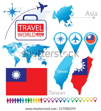 Taiwan. flag. Asia. World Map. Travel vector Illustration. - stock vector