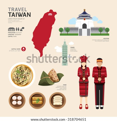 Taiwan Flat Icons Design Travel Concept.Vector - stock vector