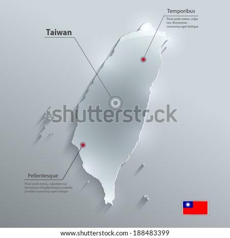 Taiwan map flag glass card paper 3D vector - stock vector