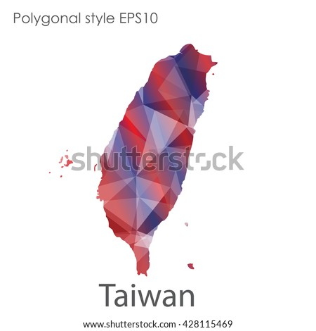 Taiwan map in geometric polygonal style.Abstract triangle Taiwan map.Taiwan modern design background.Mosaic Taiwan map background. - stock vector