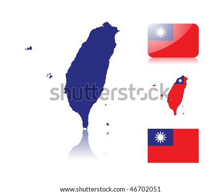 Taiwan map including: map with reflection, map in flag colors, glossy and normal flag of Taiwan. - stock vector