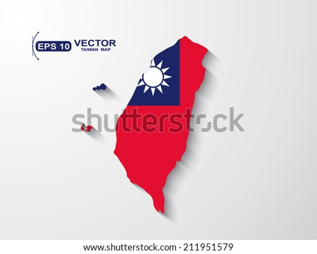 Taiwan map with shadow effect - stock vector
