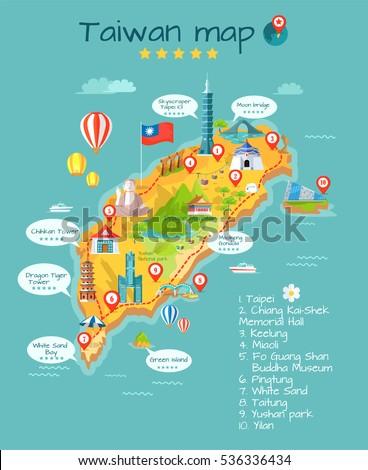 Taiwan Map Sightseeing Taipei Chiang Kaishek Stock Vector - Taiwan map