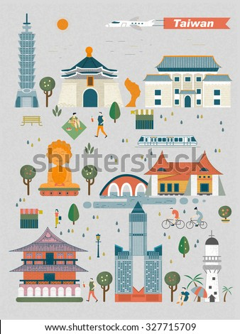 Taiwan travel concept - landmarks collection in flat design - stock vector