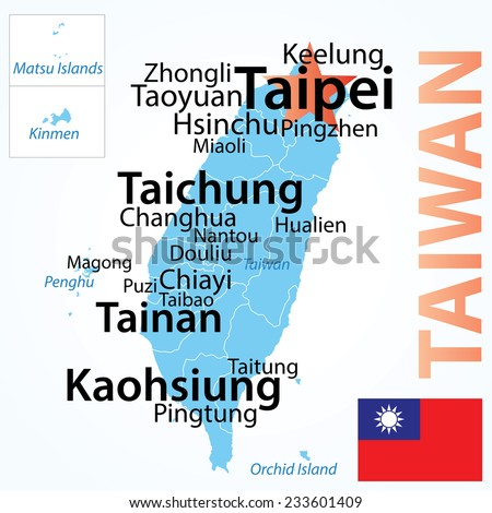 Taiwan - vector map with largest cities, carefully scaled text by population. - stock vector