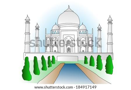 Taj Mahal - stock vector