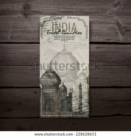 Taj Mahal. Hand drawn pencil sketch vector illustration. Vector format - stock vector