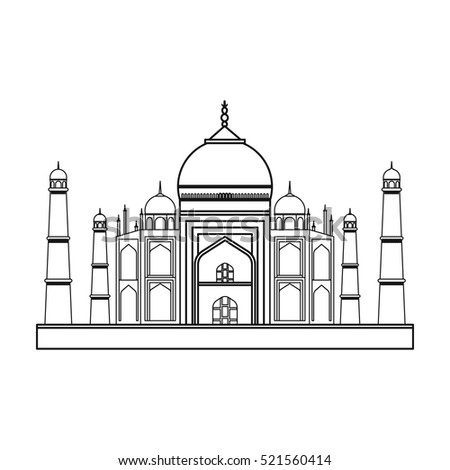 Taj Mahal Icon Outline Style Isolated 521560414 on 200