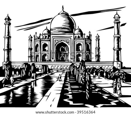 Taj Mahal illustration - stock vector
