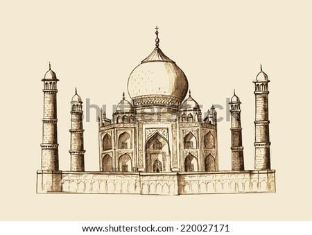 Taj Mahal, India in vintage hand drawn illustration  - stock vector