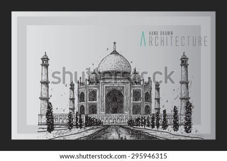 Taj Mahal, India - vintage hand drawn vector illustration - stock vector