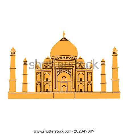 Taj Mahal isolated on white.Summertime vacations and traveling symbol. Eps 10 vector illustration. - stock vector