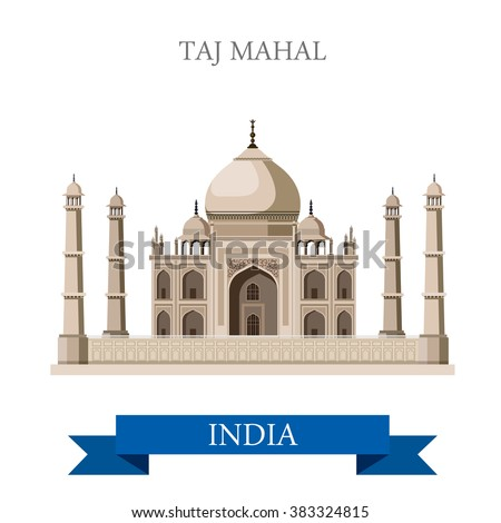 Taj Mahal mausoleum in Agra, India. Flat cartoon style historic sight showplace attraction web site vector illustration. World countries cities vacation travel sightseeing Asia collection. - stock vector
