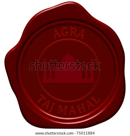 Taj Mahal. Sealing wax stamp for design use. - stock vector