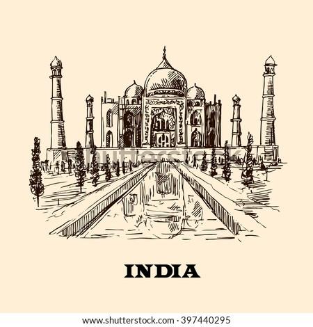 Taj Mahal sketch vector hand drawn illustration for your design - stock vector