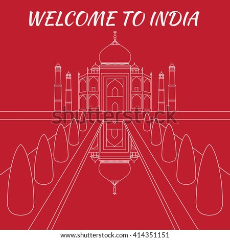 Taj Mahal Temple Landmark in Agra, India. Indian white marble mausoleum, indian architecture outline - stock vector