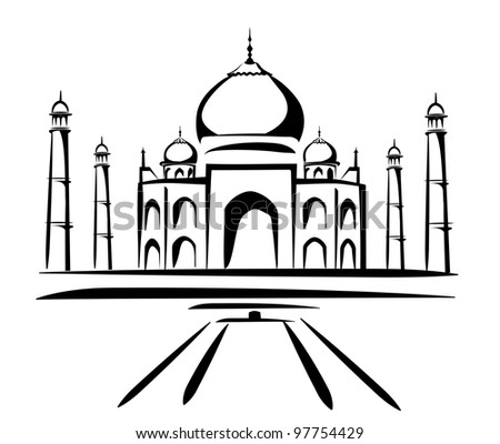 taj mahal vector illustration, symbol in black lines - stock vector
