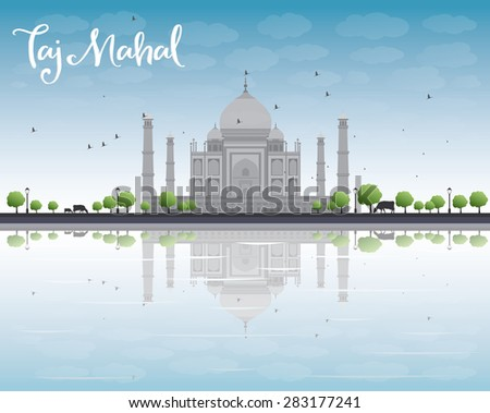 Taj Mahal with Tree and cow. Front view. Vector illustration - stock vector