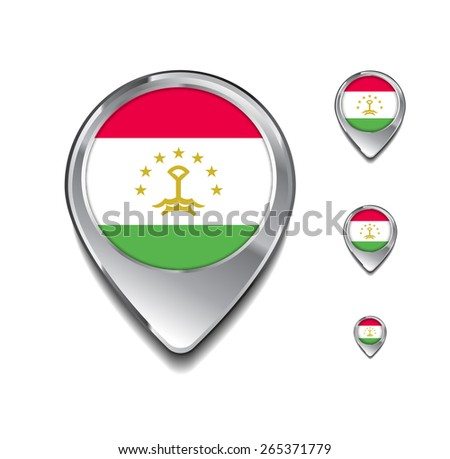 Tajikistan flag map pointer. 3d Map Pointer with flag glossy button style on gray background - stock vector