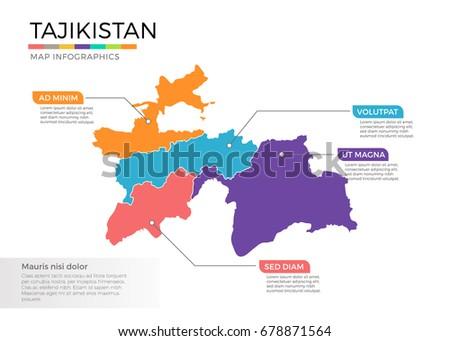 Tajikistan Map Infographics Vector Template Regions Stock Vector - Tajikistan map vector