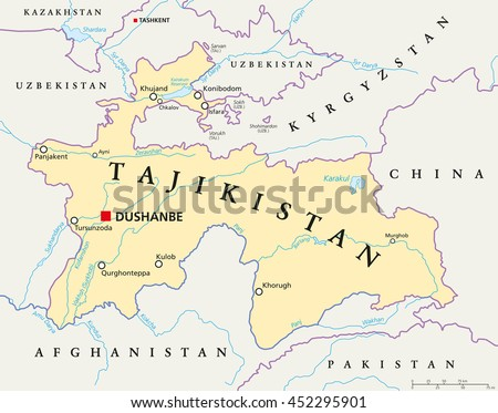 Tajikistan Political Map Capital Dushanbe National Stock Vector - Dushanbe map