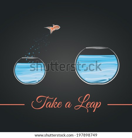 Take a leap. Beautifully designed vector of a fish jumping from a smaller to a bigger fishbowl.  - stock vector