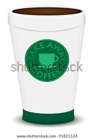 Take Away Brown Coffee in Plastic Cup On White Background - stock vector