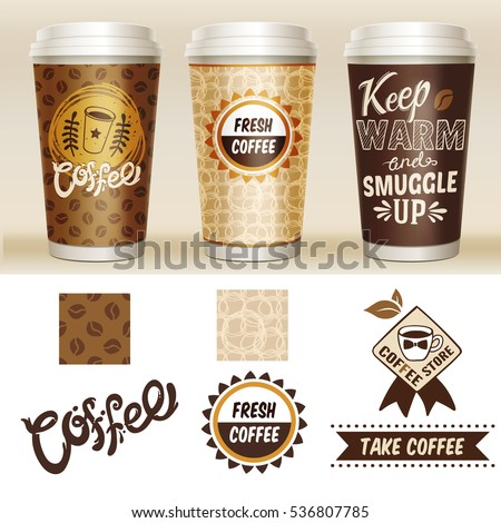 Take away coffee packaging template set with 3d paper cup and fresh coffee coffee store descriptions vector illustration