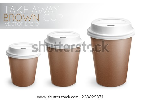 Take away paper cup for drinks brown with white plastic cap 3D cup in vector format - stock vector