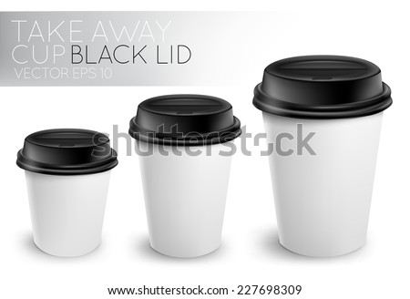 Take away paper cup for drinks white with black plastic cap 3D cup in vector format - stock vector