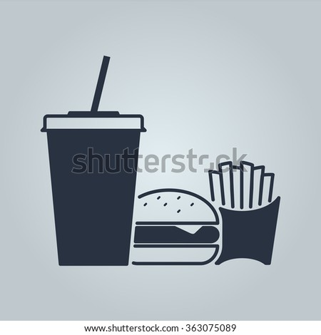 take away set, cola with burger and fries icon