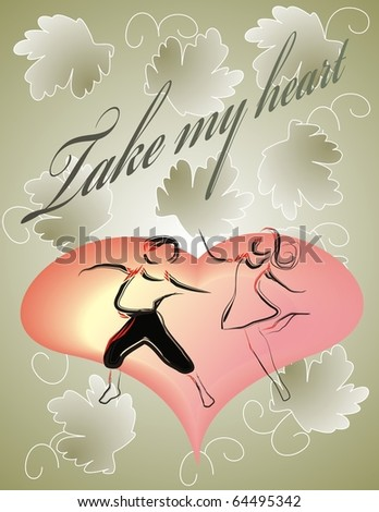 take my heart, dancing couple - stock vector
