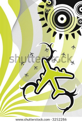 Take off, a stylish vector plane - stock vector