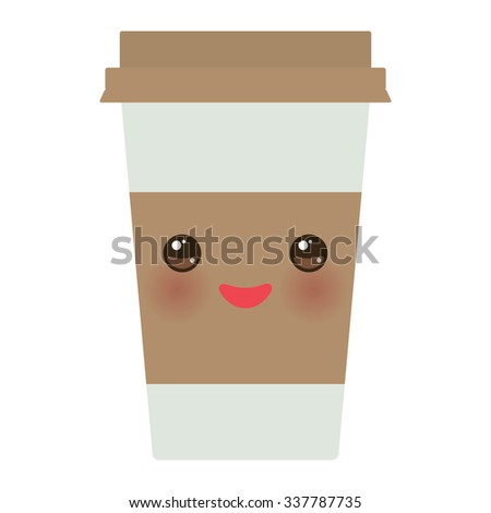 Take-out coffee in Paper thermo coffee cup with brown cap and cup holder. Kawaii cute face with eyes and smile  Isolated on white background. Vector - stock vector