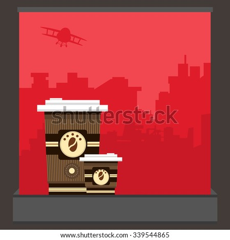 Take-out coffee in thermo caups. Vector illustration of a poster in flat style - stock vector