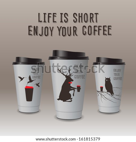 Take-out coffee in thermo cup, vector image. Enjoy you coffee.  - stock vector